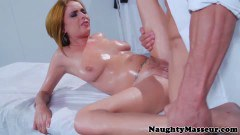 Busty ginger babe fucked by the horny masseur