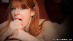 Stunning redheaded MILF sucks and swallows