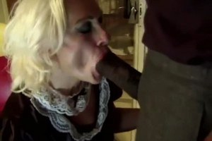 Costumed granny in interracial anal