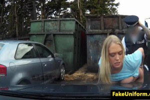 Dirty blonde fucked by a cop