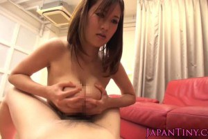 Busty Japanese gets cum on her nipples