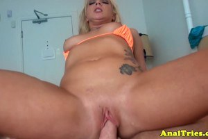 Sweet blonde assfucked by her boyfriend for the first time