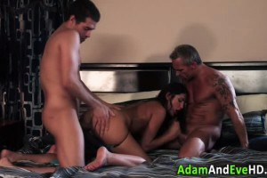 Brunette babe pounded while sucking dick in a 3some