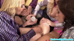 Glam babes in toying orgy