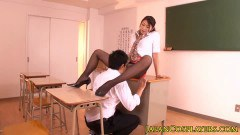Sexy Japanese teacher in classroom sex