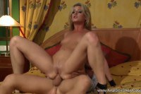 Enticing blonde MILF pleasures a dick with her butthole