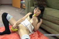 Oriental wife Yuka Ozaki pleasures her twat with bananas