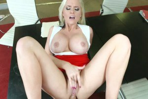 Two busty babes playing hard cocks