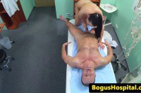 Doctor and nurse trade oral sex on the examining table