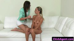 Casting lady gets some lesbian lovin