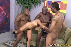 Blonde Tinslee Reagen double penetrated by black cocks