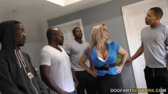 Chubby mature Jenifer in gang bang