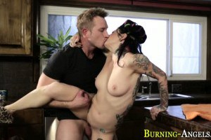 Fetish alt babe pussy and ass fucked in the kitchen