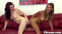 Sexy latina lesbians on red couch sex