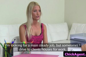 Skinny blonde model fucked by the agent
