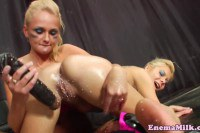 Wet and messy blondes squirting milk out of their butts