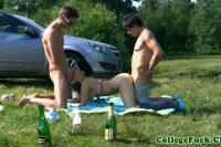College slut spitroasted by two dude outdoor