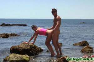 Slutty College Chick Fucked At The Beach
