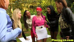 Horny euro babes piss in odd places