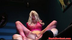 BDSM blonde sex doll sucks dick and gets fucked so hard