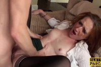 Appetizing British sub spanked and fucked by the maledom