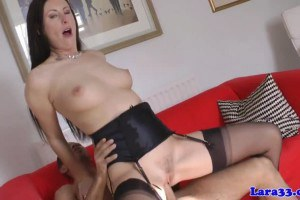 British MILF in stockings gets fucked by the plumber