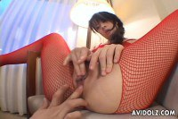 JAV Idol In Red Fishnets Gets Her Pussy Toyed