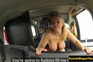 Busty blonde cab driver sucks and fucks her passenger