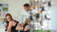 Blindfolded redhead babe whipped and fucked by the kinky stud