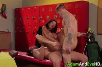 Aroused brunette MILF double penetrated in the locker room