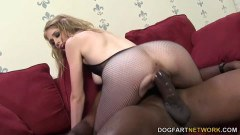 Blonde hottie Allie James takes the big black cock in all her holes