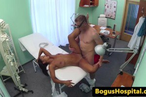 Ebony patient has lesbian sex with the nurse before being fucked by the doc
