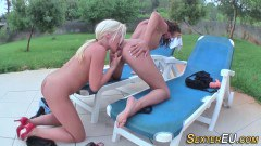 German lezzies having fun with toys outdoors