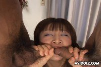 Delightful Japanese Girl Serving Two Cocks