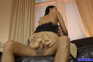 Babe in lingerie ass fucked during threesome