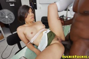 Asian Tailor Gets Excited On Big Black Cock