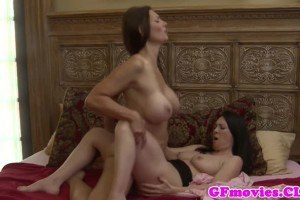 Busty MILF and hot chick experiment lesbian sex