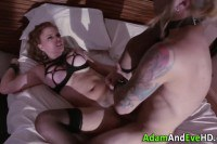 Domina gets fucked and facialized by gagged sub
