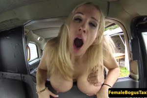 Voluptuous blonde cab driver getting fucked by the passenger