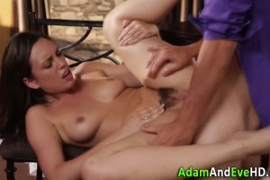 Brunette babe chef fucked and jizzed all over her trimmed pussy