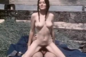 Couple have outdoor sex in vintage porn scene