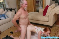 Petite redhead sucks geriatric's cock in POV before sex