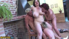Three aroused matures get fucked by a lucky young stud