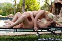 Intense massage leads to passionate outdoor lesbian sex