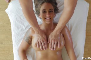 Hot girl with natural tits gets fucked on massage table