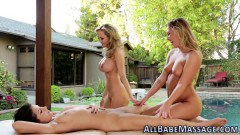 Lesbian babes eat pussy in outdoor threeway