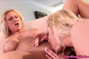 Busty blondes rub their cunts after intense lesbian sex