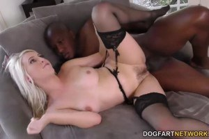 Classy blonde Cadence Lux pussy probed by Mandingo's black dick