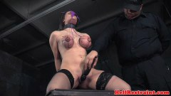 Insane boob and pussy torture for the restrained sub