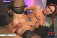 German MILF gets pussy and assfucked before collecting jizz
